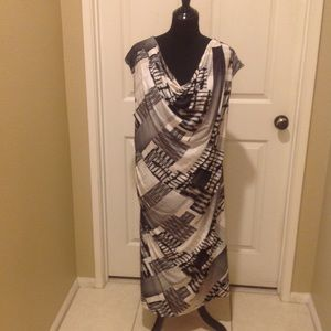 Beautiful black/white/tan Dressbarn dress like new